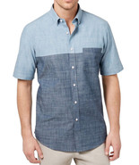 NEW MENS CLUB ROOM BLUE CHAMBRAY COLORBLOCK BUTTON FRONT SHIRT XXL - $17.81