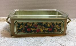 Vintage Clear Pyrex Loaf Pan W/Aluminum Teleflora Holder Harvest Design - $11.00
