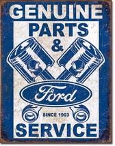Ford Genuine Used Parts Piston Logo Car Dealer Retro Weathered Metal Tin Sign - $15.99