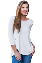 White Button Slit Detail Long Sleeve Blouse  - $17.15