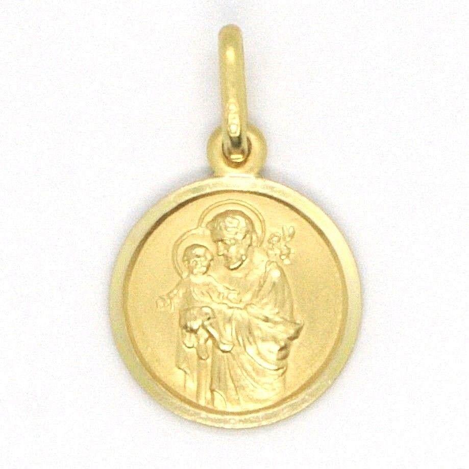18K YELLOW GOLD ST SAINT SAN GIUSEPPE JOSEPH JESUS MEDAL MADE IN ITALY, 13 MM