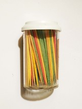 Vintage 50s Forster Colored Party Toothpicks in Original cylinder with cover image 2