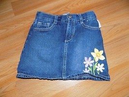 Girl's Size 5 Gymboree Denim Blue Jean Mini Skirt Skort Floral Flower Em... - $12.00