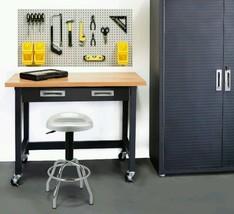 Wood Top Workbench Wheels Organizer Drawer Warehouse Garage Basement Mai... - $457.22
