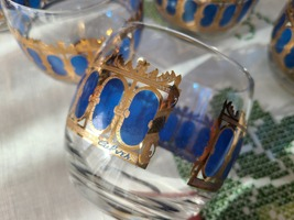 Vintage MCM 6pc CULVER Lowball Glasses in Cobalt and Gold image 4