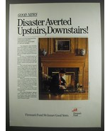1991 Fireman's Fund Insurance Ad - Good news disaster averted upstairs - $14.99