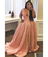 Plus Size Long Sleeves Pink Prom Dresses  - $199.99