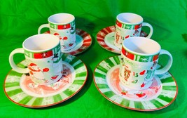 AVON SNOWMAN PLATES AND MUGS Holiday Set Of 8 New Red White Green Gift - $17.13