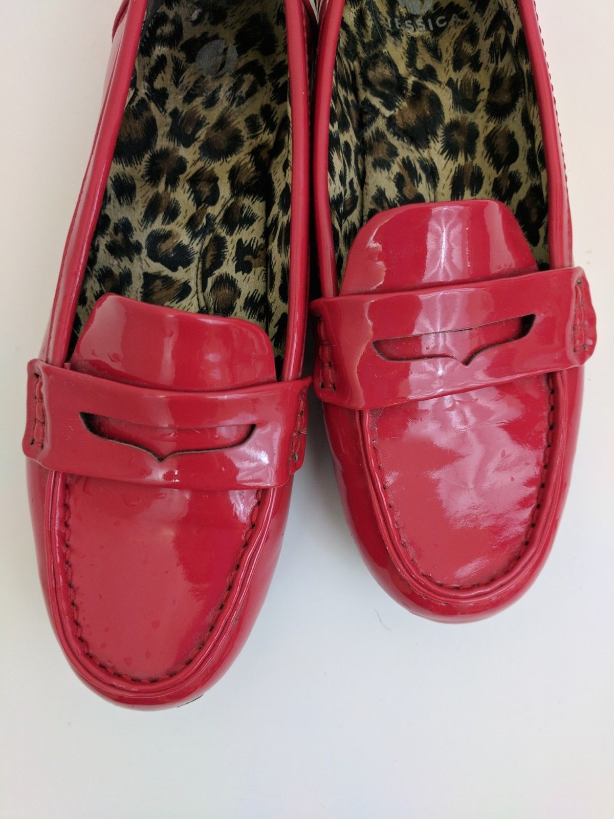 a76e15363b4 Jessica Red Patent Leather Penny Loafers Slip On Shoes Women s Size 38 US  Size 7