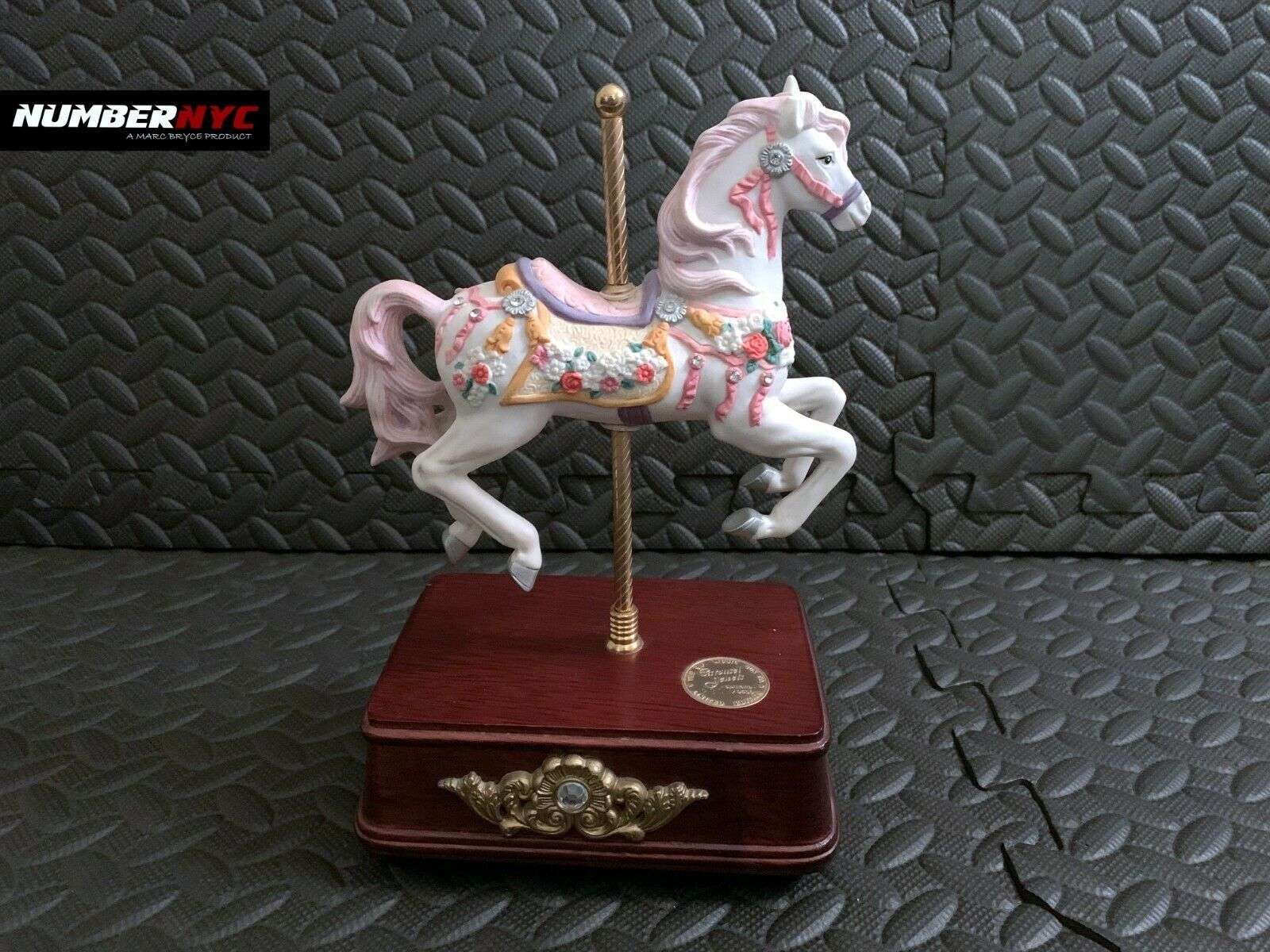 Primary image for The San Francisco Music Box Company, Wooden Musical White Carousel Horse 1990