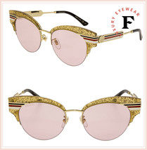 GUCCI SYLVIE Stripe 0283 Gold Glitter Pink Metal Cat Eye Sunglasses GG0283S - $316.80
