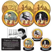 ELVIS PRESLEY Life & Times 24K Gold Plated Statehood Quarter 3-Coin Lice... - $12.16