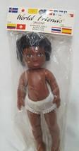 "African American Doll Dark Skin World Friends Fibre Crafts 1988 8.5"" Bla... - $16.99"