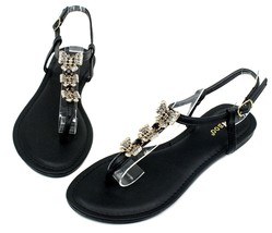 Grayson-17 New Butterfly Stone Flats Sandals Gladiator Party Women Shoes Black - $12.59