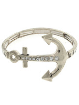 Ladies Womens Girls Silver Anchor Clear Crystal Stretch Bracelet - $4.97