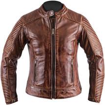 Men Biker Vintage Motorcycle Cafe Racer Cow Hide Brown Distressed Leather Jacket - $108.89+