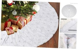 Christmas Tree Skirt Decorations - 48 Inches White Faux Fur Snowflake W... - $25.85