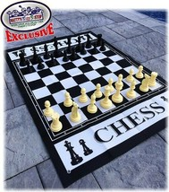 """Deluxe Large Chess (Indoor/Outdoor) Game w/ 6"""" King, 4' x 3' Game Mat w/... - $69.46"""