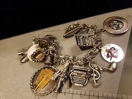 Chunky Vintage Sterling Silver Charm Bracelet Circa 1950-60s Over 15 Charms 62gr - $280.25