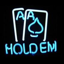 """Neon Texas Hold Em Cards Sculpture Sign Wall Decor Bar  9"""" x 9"""" - $89.99"""