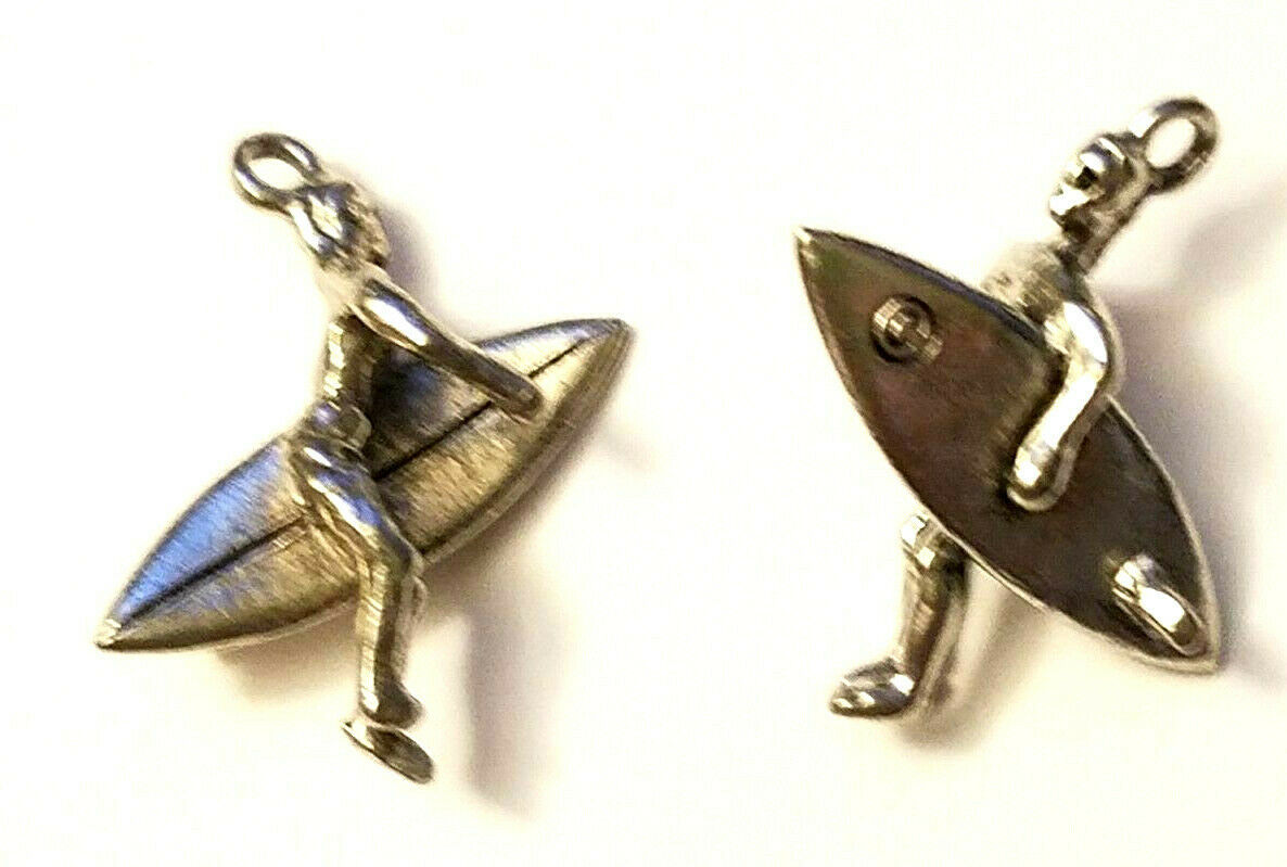 SURFER CARRYING SURF BOARD FINE PEWTER PENDANT CHARM ANTIQUE SILVER (CS245AS)