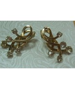 Vintage Signed EMMON Gold-tone Rhinestone Clip-on Earrings - $18.99