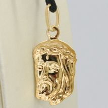 18K YELLOW GOLD JESUS FACE PENDANT CHARM 25 MM, 1 INCH, FINELY WORKED ITALY MADE image 3