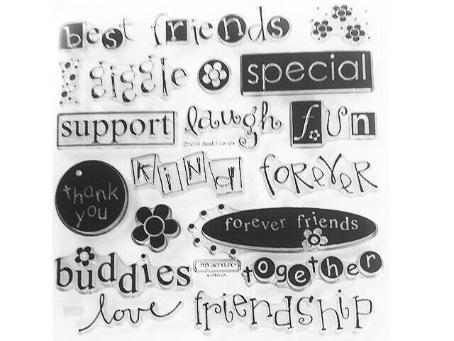 """Close to My Heart """"Best Friends"""" Clear Cling Acrylic Stamp Set #D1055"""