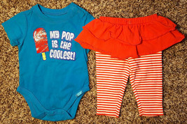 Girl's Size 6 M 3-6 Months Two Piece Blue Place My Pop Is Coolest Top + Leggings - $16.00