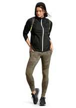 Athleta S Black Rain Runner Jacket Lightweight Windbreaker Hooded Reflec... - $79.19