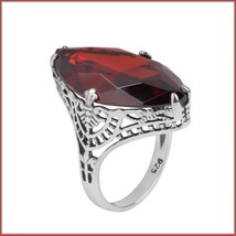 Antique Sterling Silver Prong Set Ruby Red Garnet Oval Cut Gemstone Ring image 2