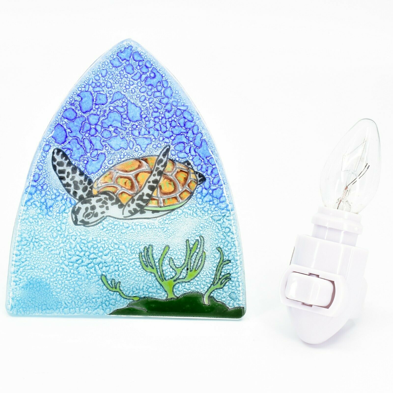 Fused Art Glass Swimming Sea Turtle Nightlight Night Light Handmade Ecuador