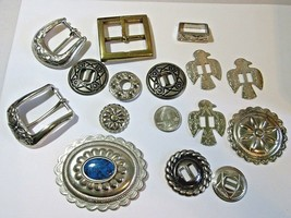 #6 LOT CONCHO SILVER TONE CRAFT FINDINGS SOUTHWESTERN PARTS PIECES HARDWARE - $18.00
