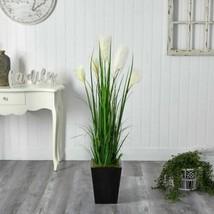 LuxMulticolor Wheat Plum Grass Artificial Plant in Black Metal Planter - 4.5 Ft. - $223.62