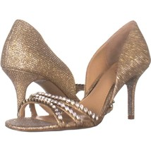 Jewel Badgley Mischka Jean Stiletto Heels 480, Gold, 6.5 US - $47.03
