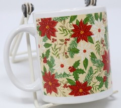 Christmas Coffee Mug Floral Mistletoe Holiday Seasons Tea Cup 11 Oz Wint... - $14.46