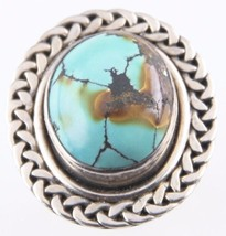Vintage Sterling Silver Green & Amber Turquoise Ring (Size 7) Oval Braid... - $75.69