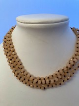 """56"""" Peach knotted 6mm crystal necklace strung on Brown thread - $18.32"""