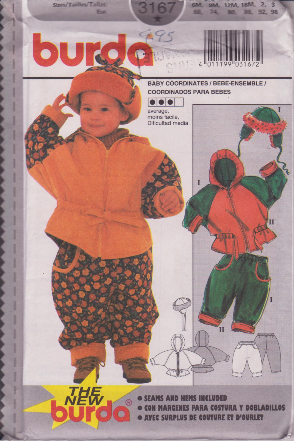 Burda 3167 Baby Coordinates Sizes 6 months to 3 years Eur 68-98 Jacket with Hat