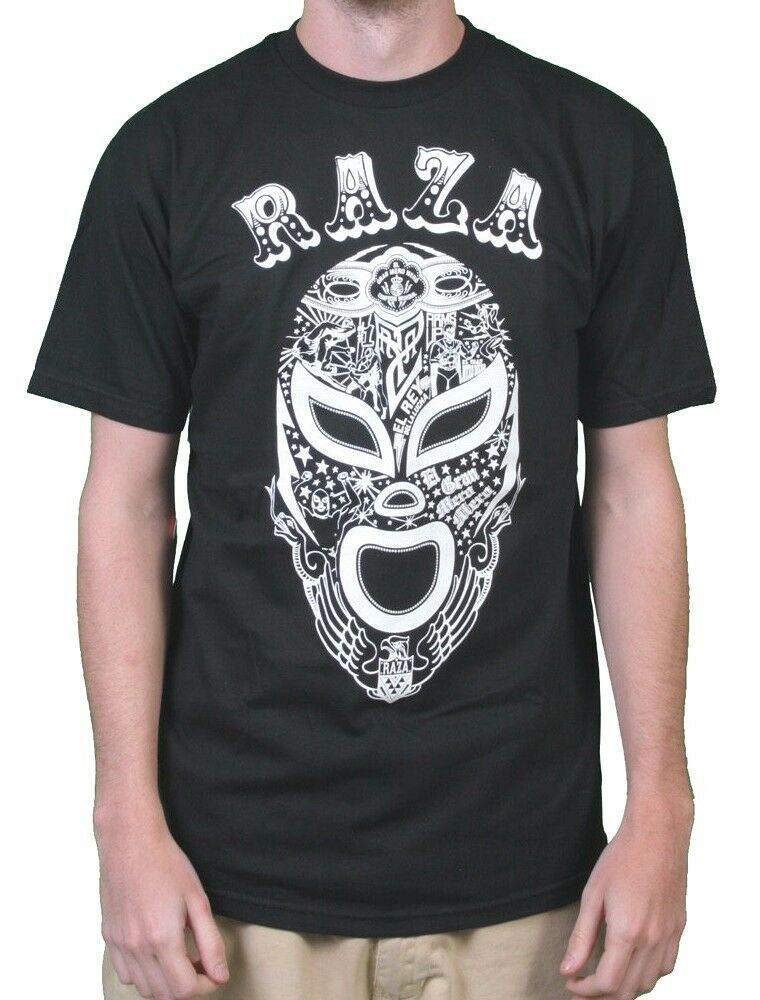 Raza Hommes Noir ou Violet Lucha Libre Luchador Catch Campeon Masque T-Shirt NW
