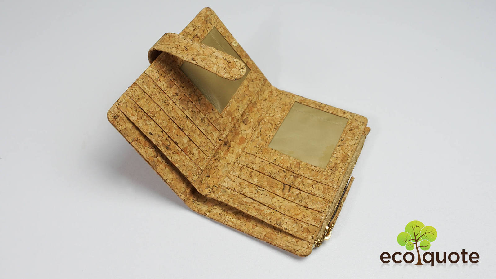 EcoQuote Eco-Friendly Bi Fold Side Zip Wallet Handmade Cork Material for Vegan