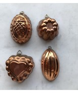 4 Small Vintage Copper Jello or Baking Molds Kitchen Decorative Made in ... - $8.29