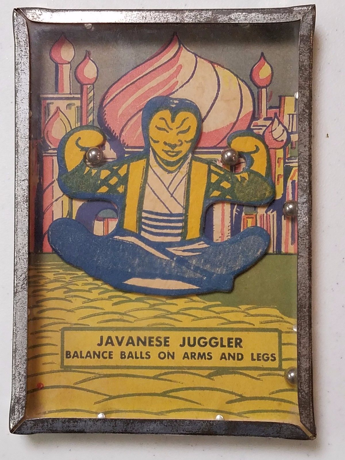 "Vintage ""Javanese Juggler"" Dexterity Skill Puzzle Game circa 1940s Tin Glass"