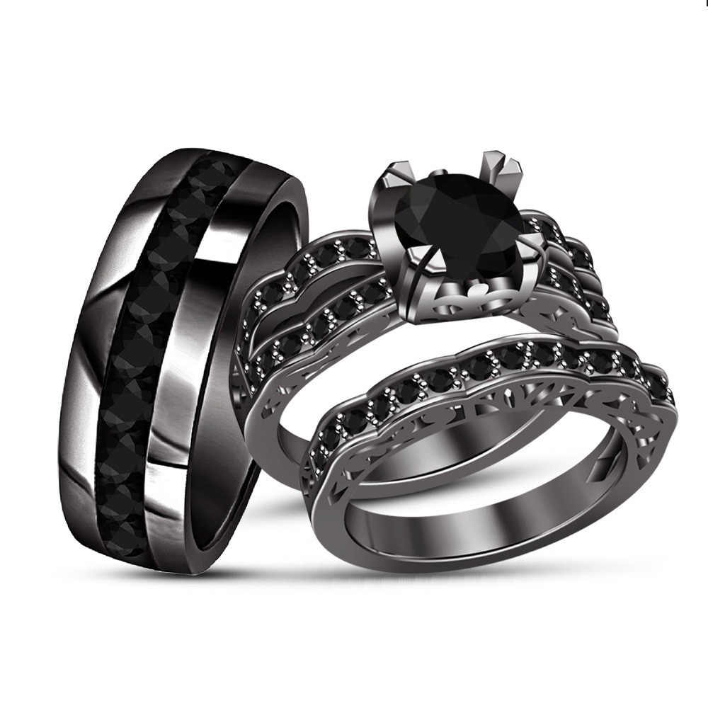 Round Diamond 14K Black Gold Over Bride & Groom Engagement Wedding Trio Ring Set