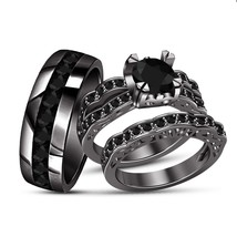 Round Diamond 14K Black Gold Over Bride & Groom Engagement Wedding Trio ... - $159.98