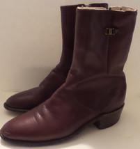 FRYE Vintage Made in USA Side Zip Red Brown Low Heel Faux Buckle Beatle Boots 7D - $51.06