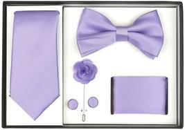Berlioni Men's Handmade Microfiber Tie Bowtie Lapel Hanky Cufflinks Gift Box Set image 5