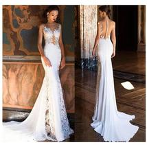 Sexy Flesh On Lace Illusion Deluxe Backless Luxury Mermaid Trumpet Wedding Dress image 2