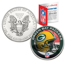 GREEN BAY PACKERS 1 Oz American Silver Eagle $1 US Coin Colorized NFL LI... - $49.45
