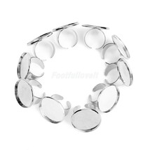 New 10pc 8mm DIY Silver Plated Adjustable Flat Ring Blanks Pad Bases - $4.95